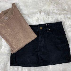 Gap 1969 Corduroy Black Mini Skirt Size 26/2